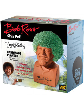 Chia Pet Bob Ross The Joy of Painting, Handmade Decorative Pottery Planter, Easy to Do and Fun to Grow, Novelty Gift As Seen on TV
