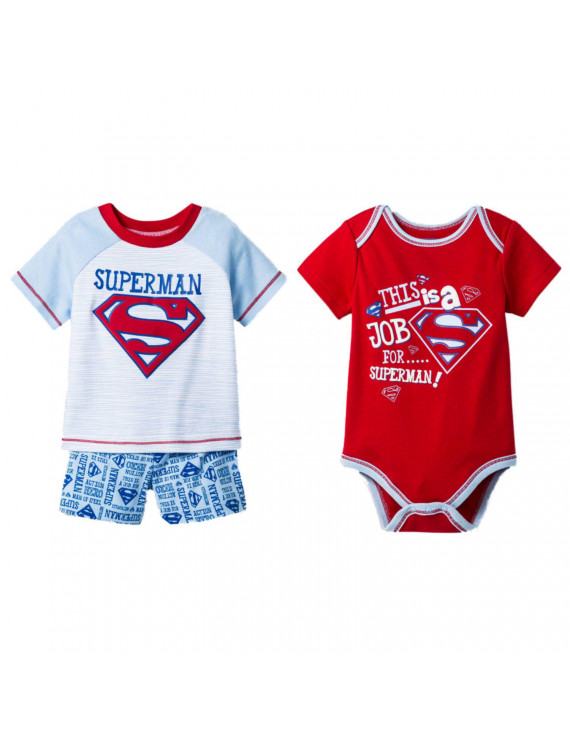 DC Comics Superman Infant Boys Bodysuit T-Shirt & Shorts Set