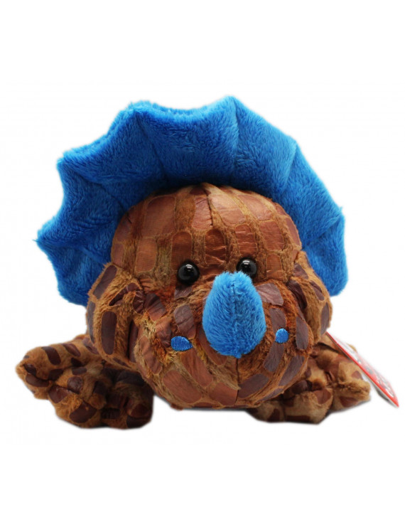 Frolicky Fossils Brown and Blue Triceratops Dinosaur Plush Toy - By Ganz