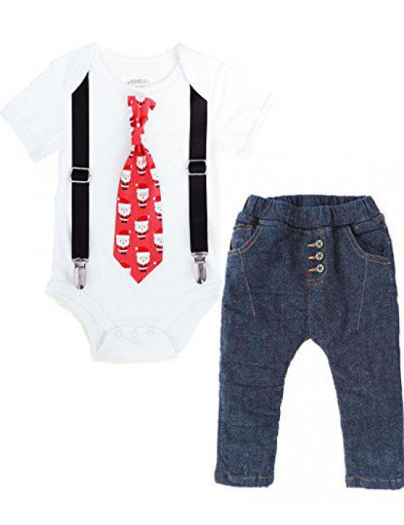 Noah's Boytique Baby Boys Santa Tie Christmas Outfit Tie Suspenders and Jean Pants Set Newborn Black