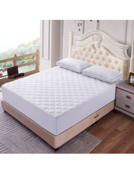 Quilted Mattress Pad (Twin, White) -Stretchable Mattress Topper- Mattress Cover-Wrinkle,Fade & Stain Resistance- Soft Quilted Bed Protector For Twin Size Bed by Lux Decor Collection