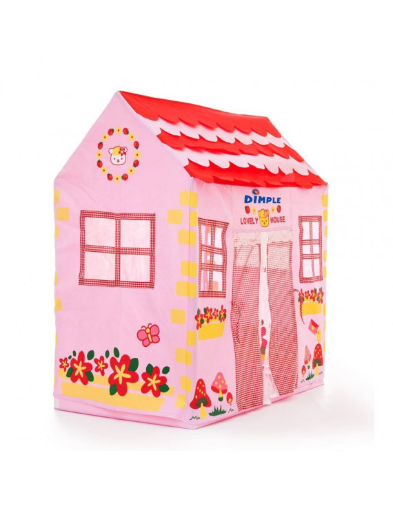 Kids Pink Play House with Kitty Themed Flower, Butterfly Printed, Foldable Lightweight Tent for Indoor and Outdoor Play Toy for Kids