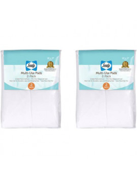 (2 Pack) Sealy Multi-Use Liner Pads with Waterproof Liner, 2 Pack (4 Pads Total)