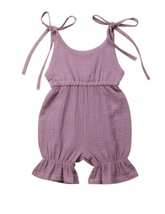 Pudcoco Girls Romper Solid Color Romper Sleeveless One Piece Toddler Jumpsuits
