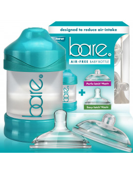BARE Air-free 4oz Single Pack with Perfe-latch & Easy-latch Nipples. Breast-like & Air-free