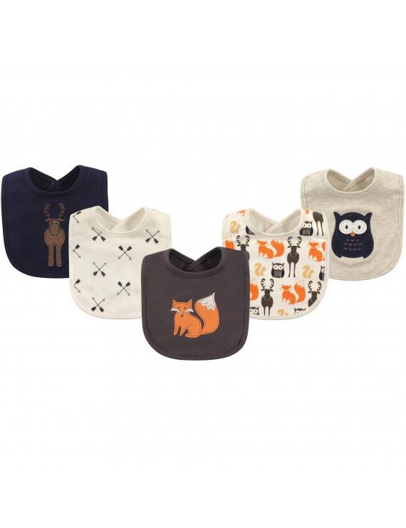 Hudson Baby Boy and Girl Cotton Drooler Bibs, 5-Pack - Forest