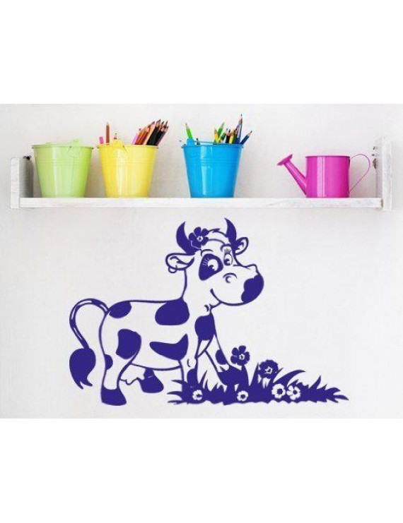 Happy Cow Wall Decal - nursery wall decal, sticker, mural vinyl art home decor - 3747 - Silver, 16in x 11in