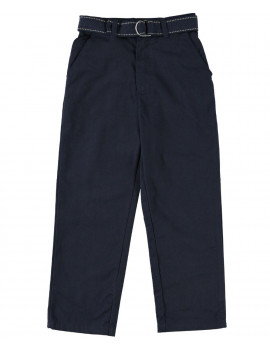 Eddie Bauer Boys 4-16 School Uniform Flat Front Brushed Twill Straight Leg Pants with Web Belt
