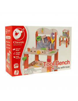 Classic Toy Wood Tool Bench with Accessories