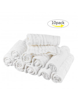10pcs Cotton Baby Towels Soft Newborn Baby Face Towels Natural Baby Muslin Washcloths for Sensitive Skin, White