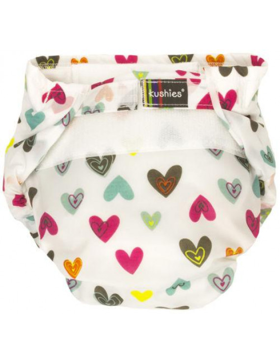 Kushies Ultra-Lite All-In-One Form-Fitted Washable Cloth Diapers (White Doodle Hearts, Toddler)