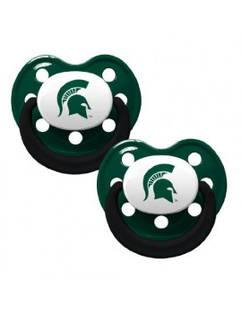 Baby Fanatic NCAA 2 Pack Baby Pacifier Michigan State, Holes
