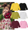Toddler Baby Kids Girl Cotton Long Sleeve Solid Color Tee Tops T-Shirt Clothes