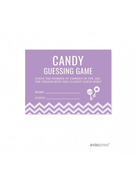 Candy Guessing Game Lavender Chevron Baby Shower Games, 30-Pack