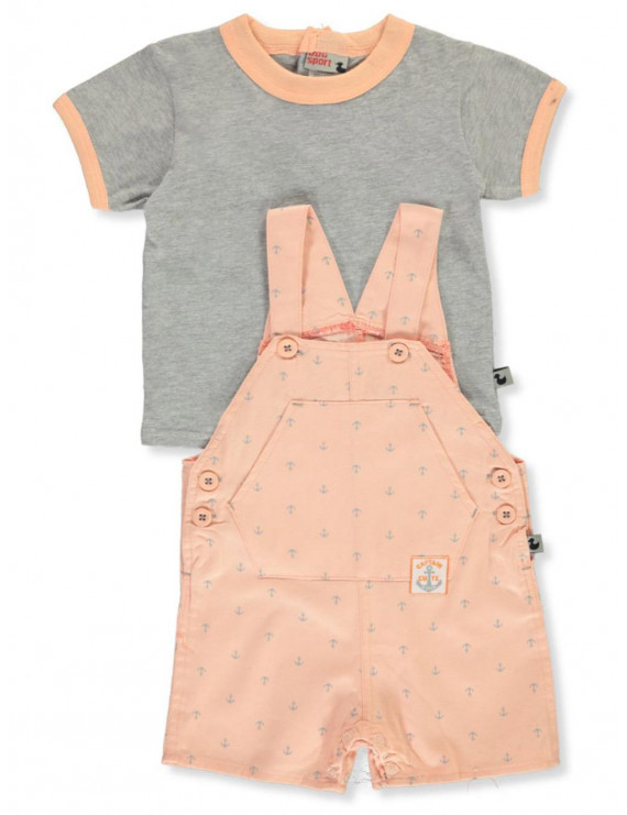 DDG Sport Baby Boys' Twill and Jersey 2-Piece Shortalls Set Outfit (Infant)