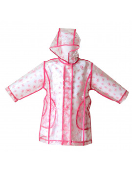 Little Girls Transparent Fuchsia Bow Unlined Rain Coat 6/6x