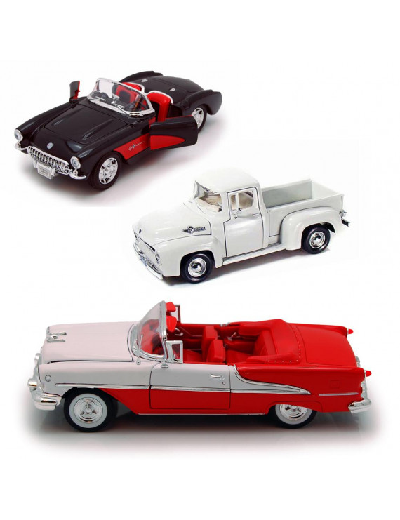 Best of 1950s Diecast Cars - Set 55 - Set of Three 1/24 Scale Diecast Model Cars