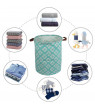 Large Laundry Hamper - Large Sized Storage Baskets with Handle, Collapsible & Convenient Home Organizer Containers for Kids Toys, Baby Clothing (Round - Blue Cross)