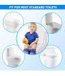 Folding Large Non Slip Silicone Pads Travel Portable Reusable Toilet Potty Training Seat Covers Liners with Carry Bag, Non-toxic Material, Cute Design Blue