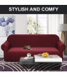AUCHEN 1-Piece Jacquard Spandex Stretch Sofa/Couch Slipcover, Pure Lycra Small Checks Knitted Sofa Cover Furniture Protector for 3 Cushion Couch with Elastic Bottom for Kids (Sofa,Red Wine)