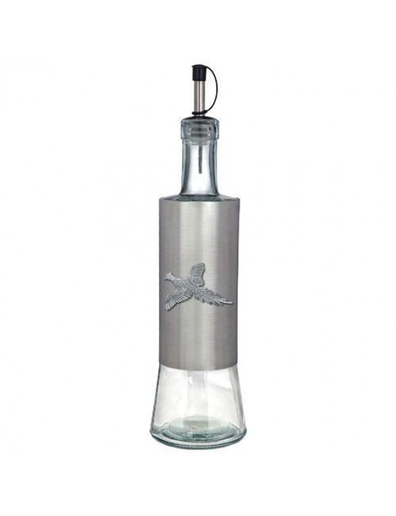 Pheasant Pour Spout Bottle   Glass Bottle with Stainless Steel Wrap   Detailed Fine Pewter Medallion   1 Piece