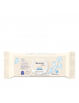Aveeno Baby Sensitive All Over Wipes, Paraben- & Fragrance-Free, 64 ct