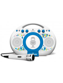 Singing Machine Tabeoke Portable Bluetooth Karaoke System Compatible with a Variety of Karaoke Apps, White