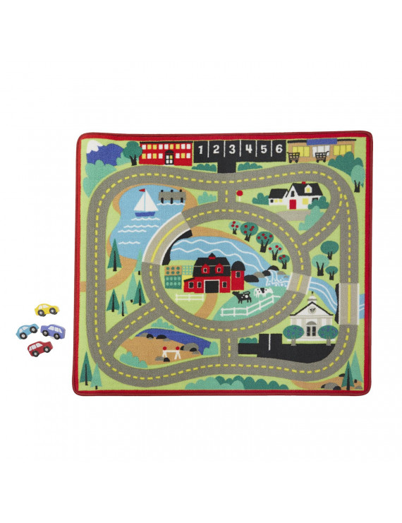 Melissa & Doug Round Town Road Rug With Toy Cars