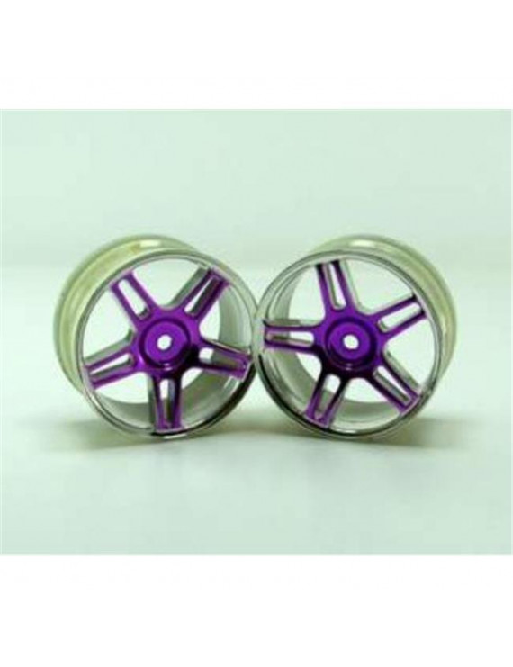 Redcat 02228pp Chrome 5 spoke split spoke purple anodized wheels 2 pcs