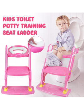 Anti Slip Potty Training Ladder Step Up Seat Toilet Contoured Cushion Training Step Stool Adjustable for Kids Toddlers with Safe Antiskid Board Super Soft Toilet Cushion Foldable