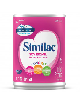 Similac Soy Isomil Baby Formula For Fussiness and Gas, 12 Count Concentrated Liquid, 13-fl-oz Can