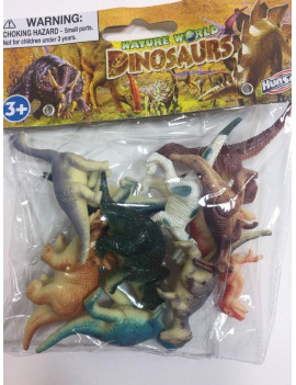 10 PCS DINOSAURS TOY PLASTIC FIGURINE FIGURE NATURE WORLD KIDS GIFT FUN