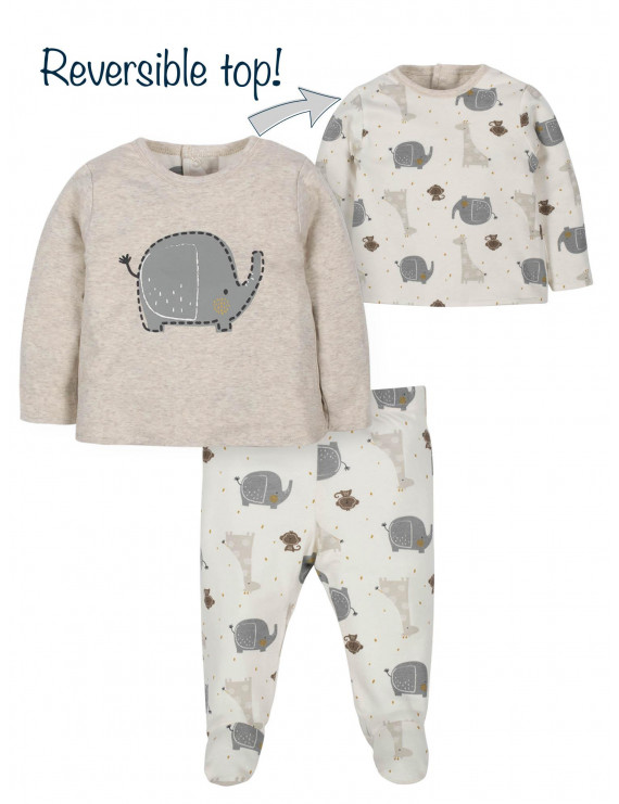 Wonder Nation Baby Boy or Girl Gender Neutral Reversible Shirt & Footed Pant, 2pc Outfit Set