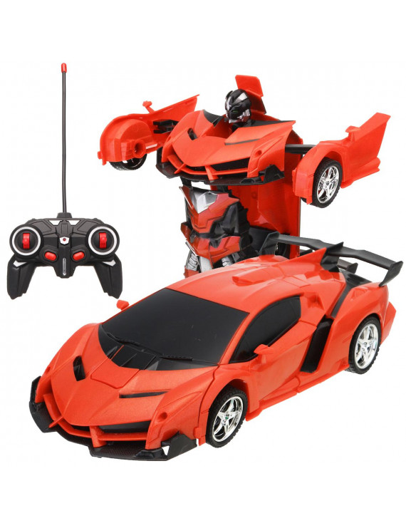 Transforming RC Car Robot Toy , Remote Control Car Toy w/ LED Lights & Sounds & Gesture Sensing , 1:18  Scale 360°Rotating Drifting Race Car,Best Gift for Kids