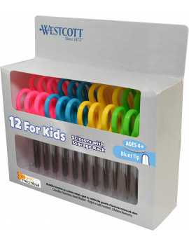 Westcott 5 inch Anti-Microbial Kids Scissors Blunt, Assorted Colors, 12pk