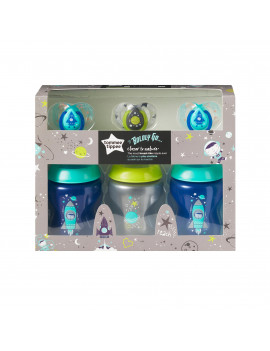 Tommee Tippee Closer to Nature Boldly Go Gift Set, Boy, 6-Pack – 9-Ounce Baby Bottles & 6-18 month Pacifiers