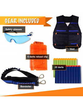 FullyLoaded Tactical Vest for kids for Nerf Guns N -Strike Elite, Nerf Fornite. Nerf Accessories Kit for boys & girls - Darts, Safety Eye Glasses, Bandolier, Vest, Reload Clip.