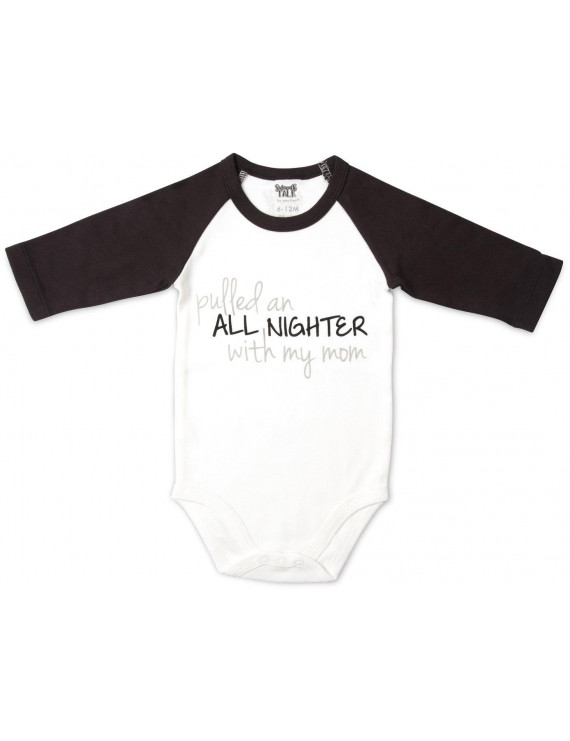 Pavilion  - Pulled an all Nighter with My Mom Black Unisex Baby 3/4 Long Sleeve Bodysuit 12-24 Months