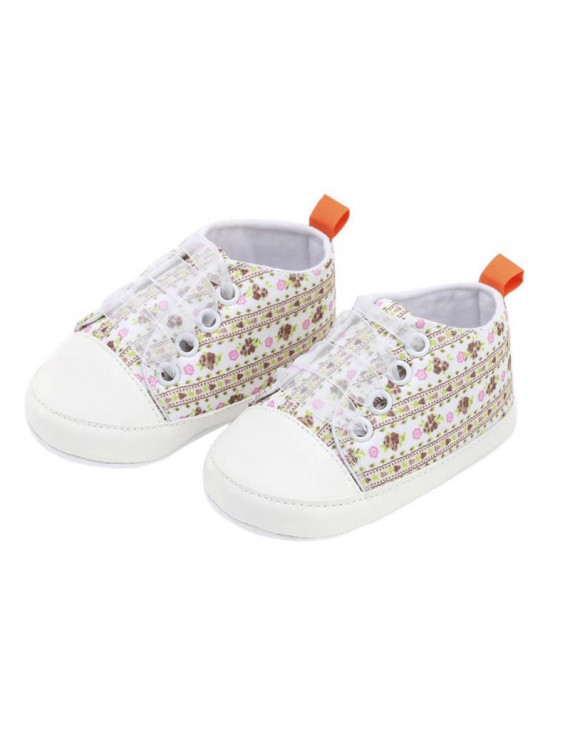 New Canvas Baby Sneaker Floral Print Lace Sport Shoes For Girls Newborn Shoes Baby Walker Infant Toddler Soft Sole First Walkers