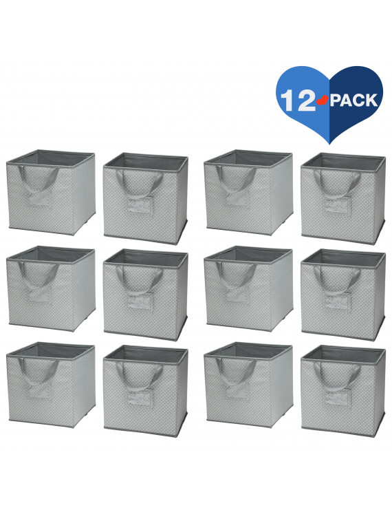 Delta Children Foldable Storage Cubes/Bins - 12 Pack, Dove Gray
