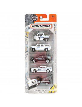 , 2016 NYPD Police Rescue 5-PackVehicles included: Meter Made, white SUV, black SUV, white police car, and a black tow truck. By Matchbox
