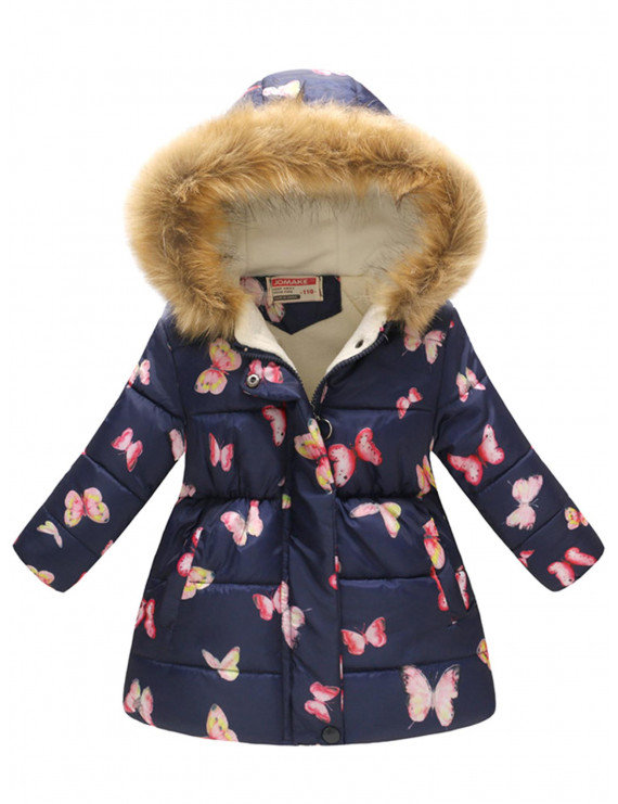 Kid's Girls Boys Hooded Warm Padded Floral Fur Collar Snowsuit Outerwear Coat