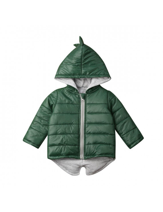 Kids Girl Boy Dinosaur Cotton-padded Jacket Winter Coat Outwear Clothes