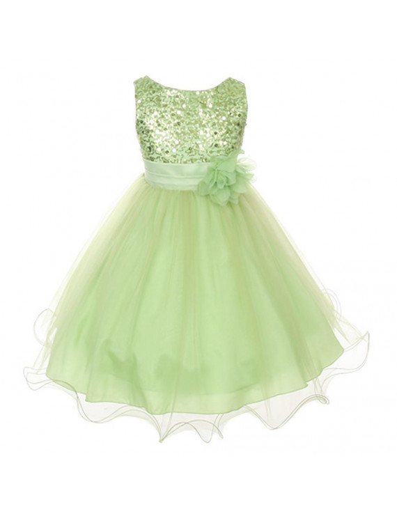 Kids Dream Baby Girls Lime Green Sequin Double Mesh Flower Dress 18M