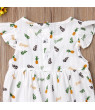 Toddler Baby Girls Floral Print Ruffled Sleeve Romper Bodysuit High Waisted Summer Jumpsuit Onesie Outfits