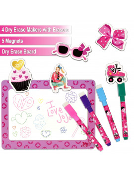 "JoJo Siwa Magnetic Dry Erase White Board: Mini Magnetic Dry Erase Board for Kids, Educational with 4 Dry Erase Markers, 5 Magnets, &  a 9.5"" x 12.75"" Magnetic Drawing Board, for Boys and Girls ages 3+"