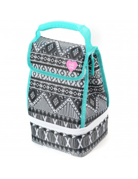 Arctic Zone Dual Compartment Lunch Bag Plus with Microban® Protected Easy Clean Lining, Black and White Aztec