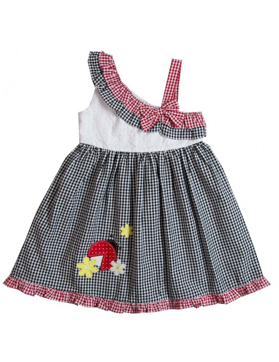Good Lad Toddler thru 4/6X Girls White,Black, and Red Seersucker Sundress with Ladybug Appliques