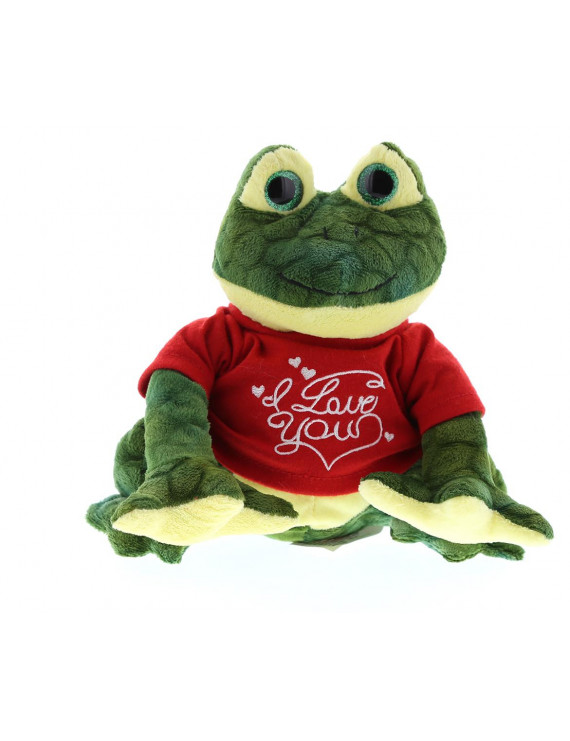 Dollibu Green Squat Frog I Love You Valentines Stuffed Animal - Red Message Tshirt - 8 inch - Wedding, Anniversary, Date Night, Long Distance, Get Well Gift for Her, Him, Kids - Super Soft Plush