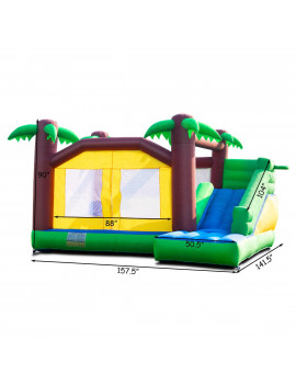Goplus Inflatable Moonwalk Jungle Bounce House Jumper Bouncy Kids Jump Bouncer Castle